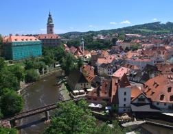 Český Krumlov - výhled na Vltavu a zámeckou věž