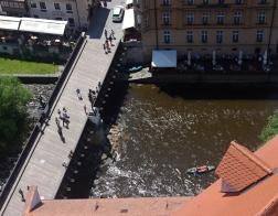 Český Krumlov - výhled ze zámecké věže na Vltavu