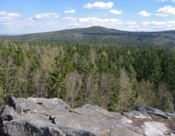 CHKO Brdy - Jindřichova skála (v pozadí zřícenina hradu Valdek)
