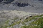 Takto vypadá část ledovce Pasterze v létě