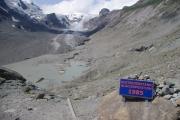 Ledovec Pasterze - výška ledovce v zimě v roce 1985