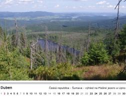 Kalendář 2018 - výhled na Plešné jezero a Lipno