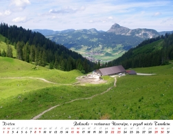 Kalendář 2021 - Rakousko, restaurace Usseralpe, v pozadí město Tannheim