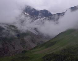 """Rakousko - údolí Kaunertal sněhový """"chobot"""" ledovce Gepatschferner"""